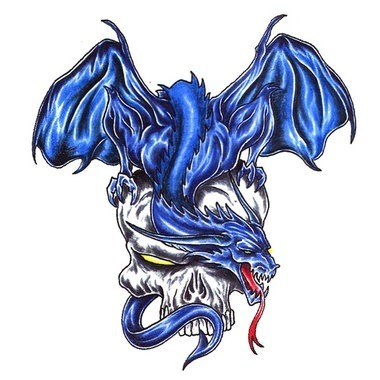 Scary blue dragon sitting on evil yellow-eyed skull tattoo design
