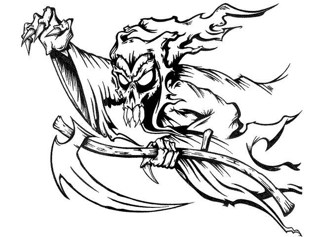Scary cartoon death flying on his scythe tattoo designby Perfkt Drug