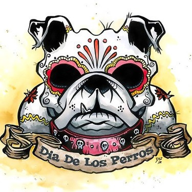 Scary colored sugar skull patterned bulldog with banner tattoo design