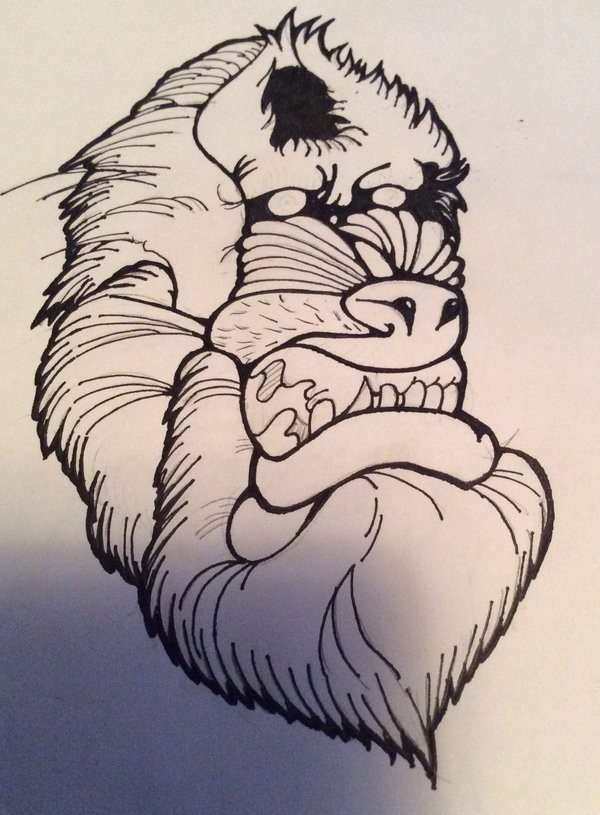 Scary colorless baboon head tattoo design by Brokened Gallows