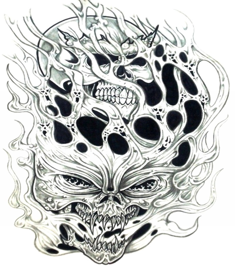 Scary demon skulls in flame tattoo design