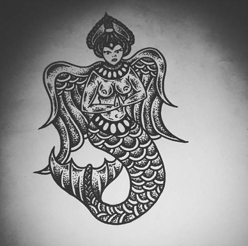 Scary dotwork winged praying mermaid tattoo design