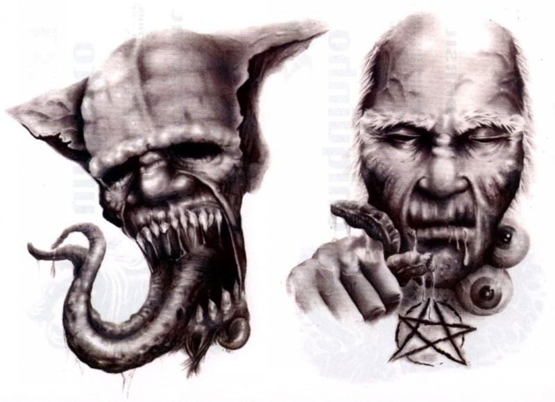 Scary evil demons with bifurcated tongue and sacred star tattoo design