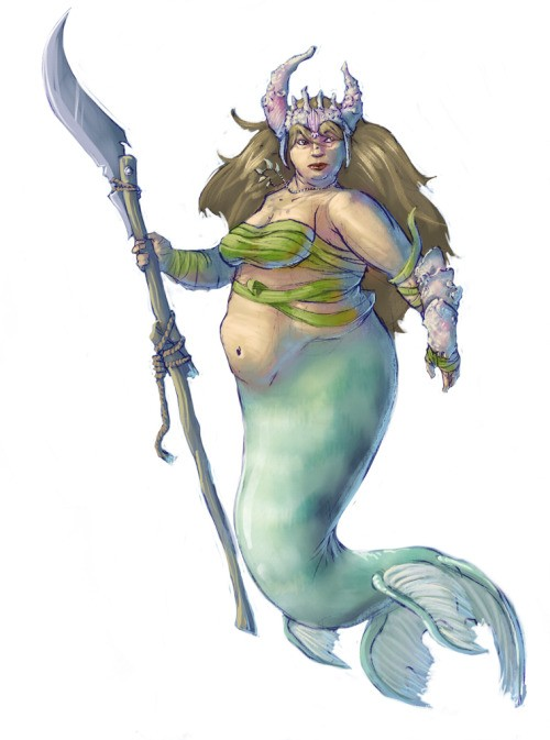 Scary fat colored mermaid warrior with a stick tattoo design