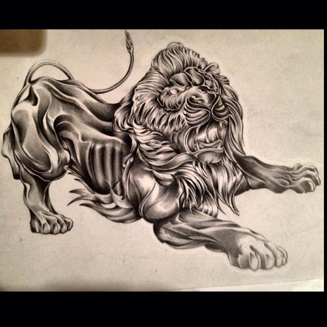 Scary full-size grey roaring lion tattoo design
