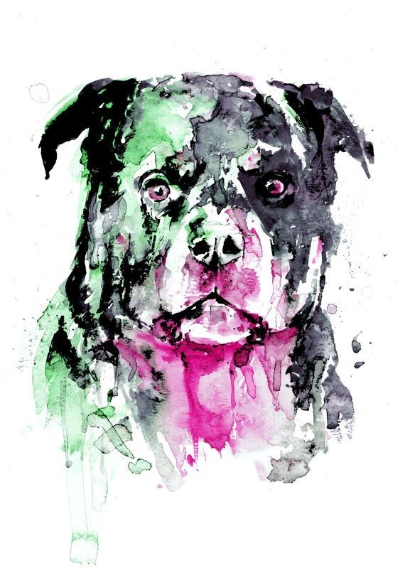 Scary green-and-pink watercolor rottweiler tattoo design