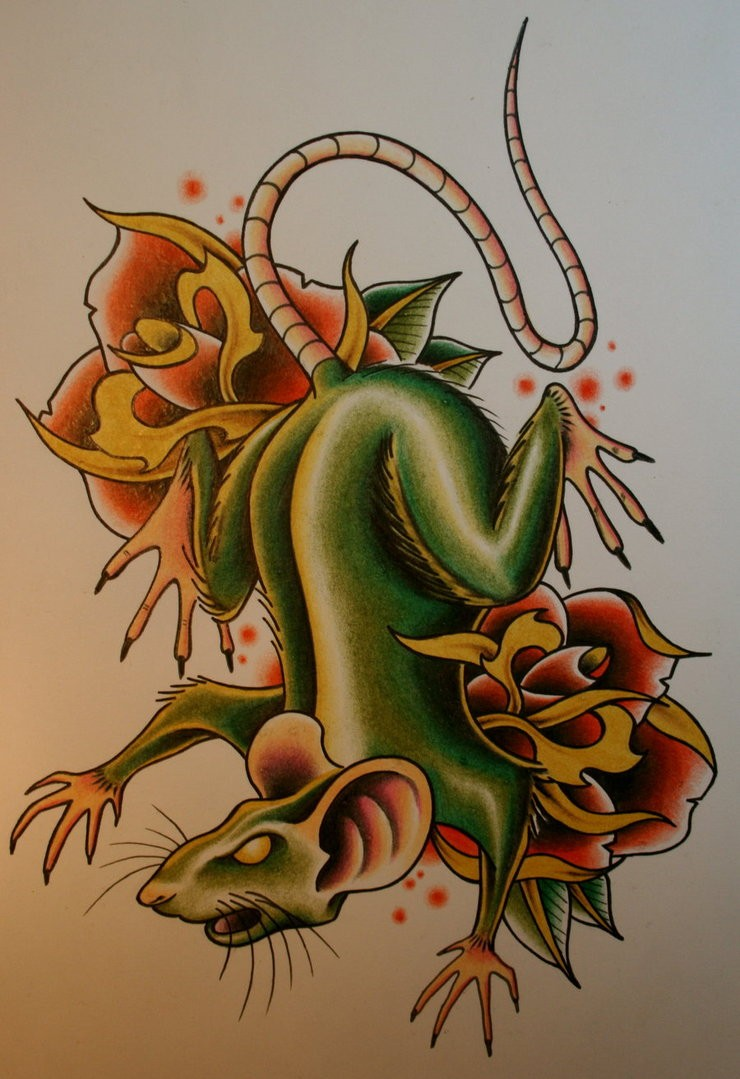 Scary green old school mouse with roses tattoo design by Itchysack