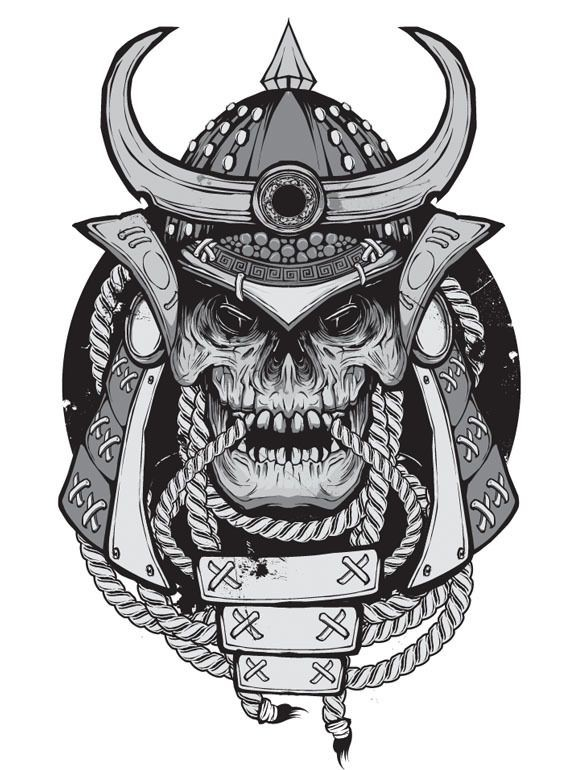Scary grey-ink demon samurai in chinese armour tattoo design