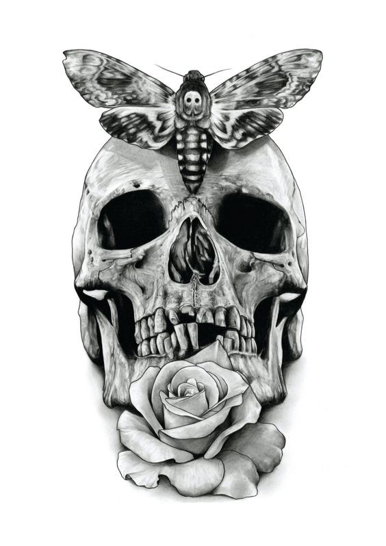 Scary grey-ink skull with moth and rose tattoo design