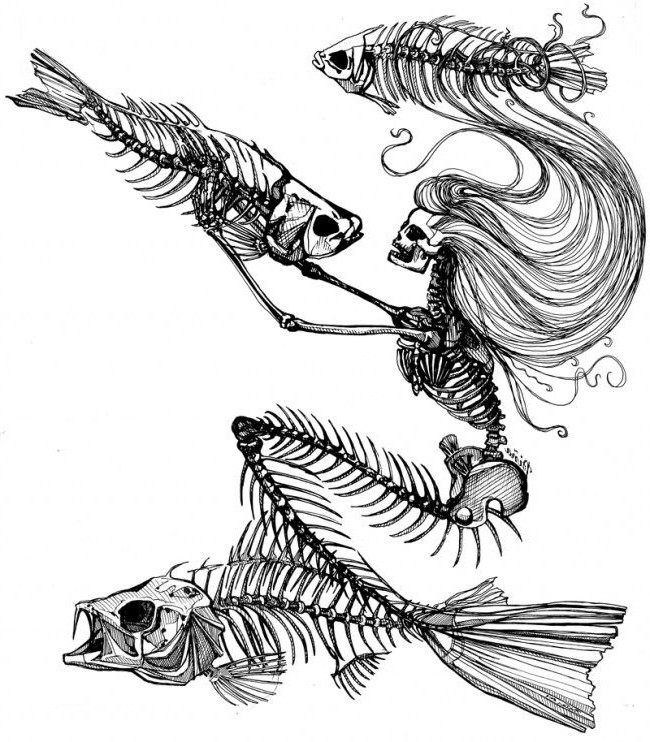 Scary mermaid skeleton with diving fish bones tattoo design