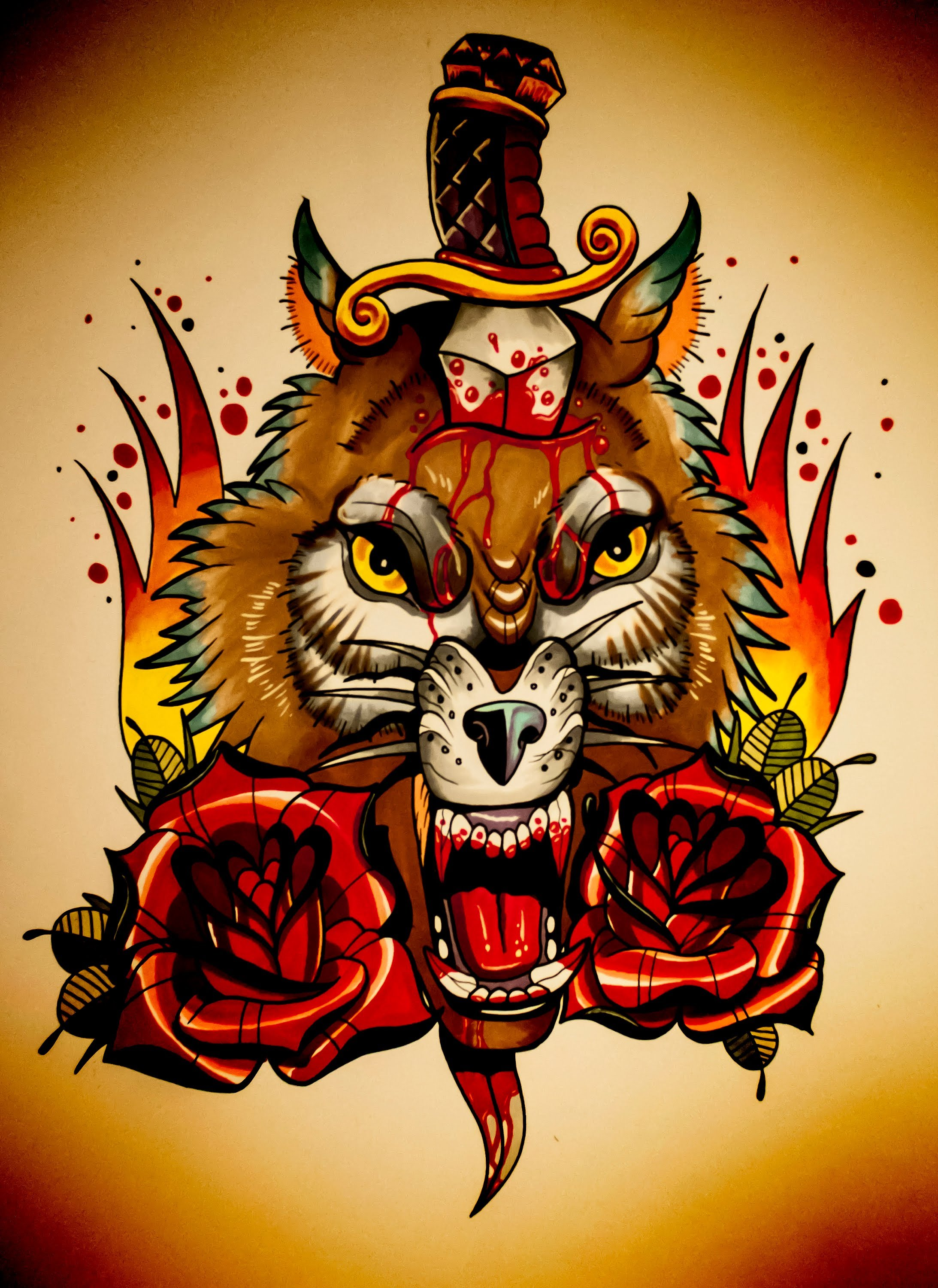 Scary new school colorful wolf head pierced with dagger tattoo design