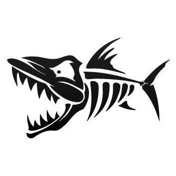 Scary open-mouth fish bone tattoo design