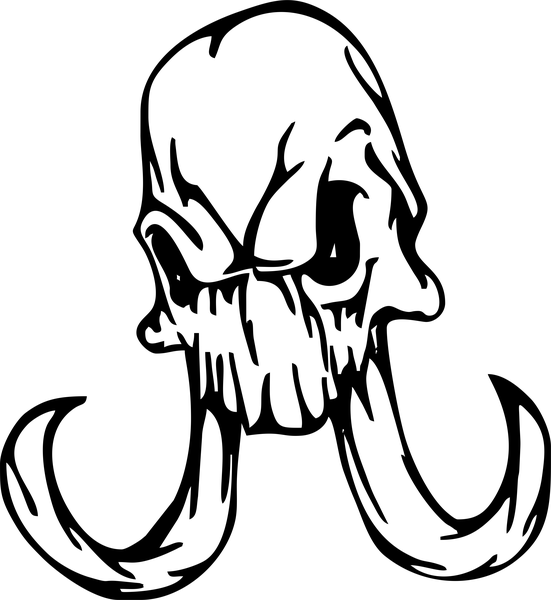 Scary outline mammoth skull tattoo design