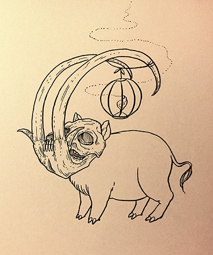 Scary outline pig with mammoth skull and shining lamp on head tattoo design
