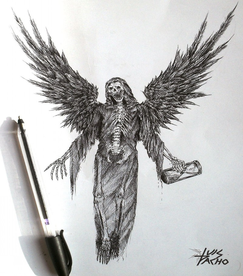 Scary pencilwork death with a hourglass in a hand tattoo design