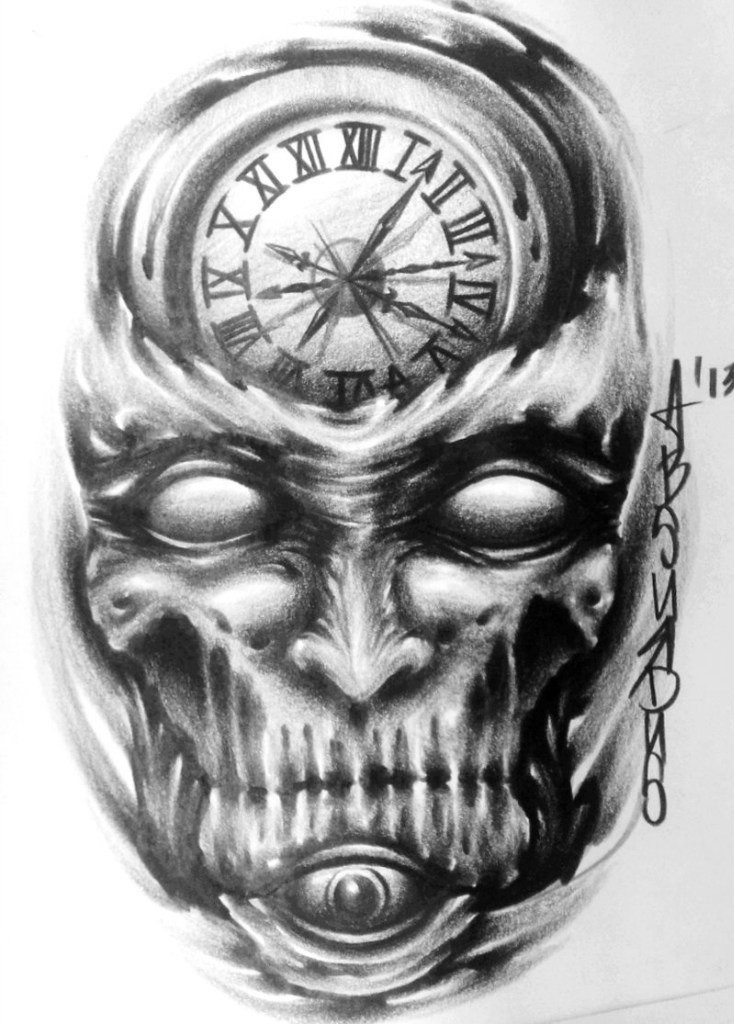 scary pencilwork demon with a clock print on the forehead tattoo design. Black Bedroom Furniture Sets. Home Design Ideas