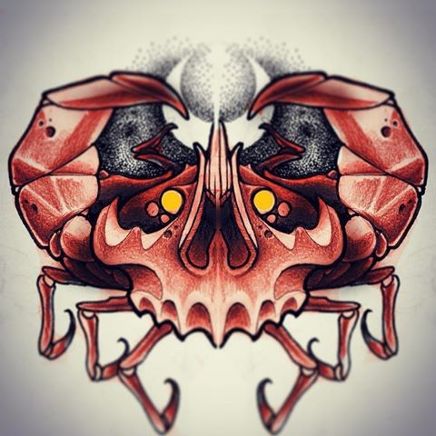 Scary red skull-shaped crab on reversed moon background tattoo design