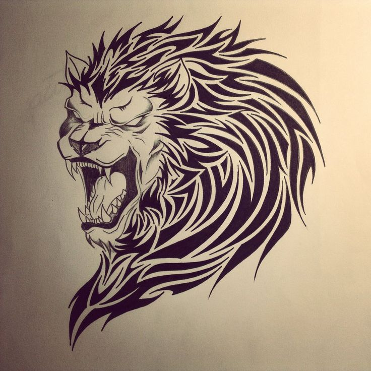 Scary roaring lion with tribal mane tattoo design