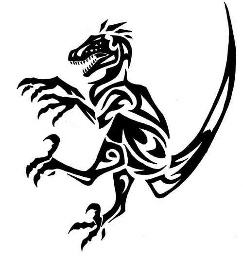 Scary tribal attacking dinosaur tattoo design