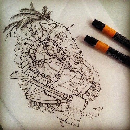 Scary uncolored armoured horse breathing with smoke and sharp axe tattoo design