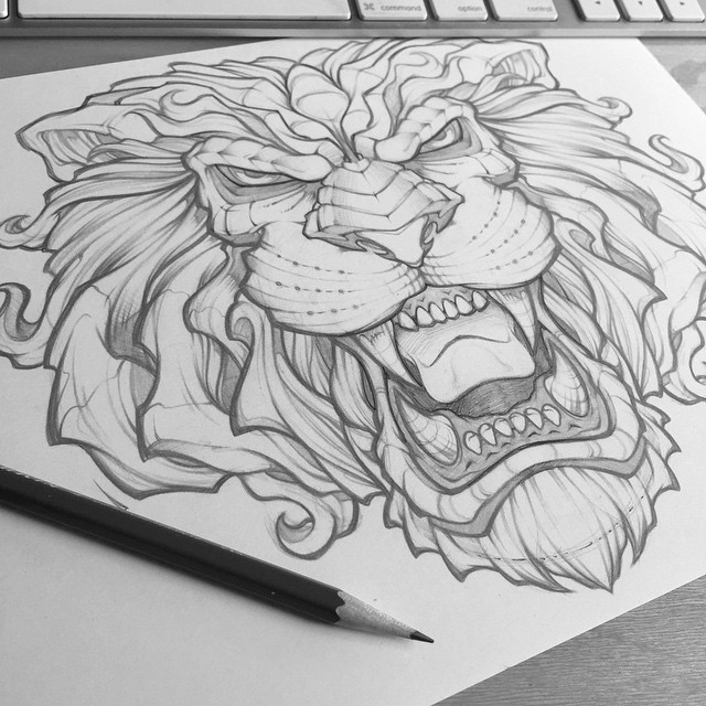 Scary uncolored roaring lion head tattoo design