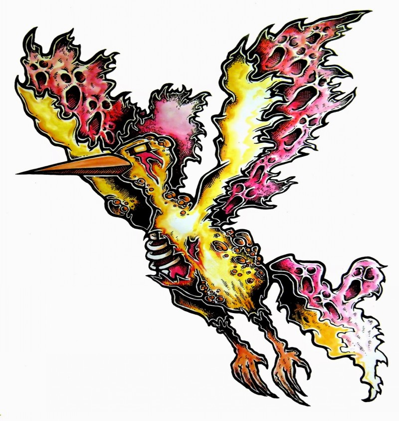 Scary yellow-and-red flying zombie phoenix tattoo design