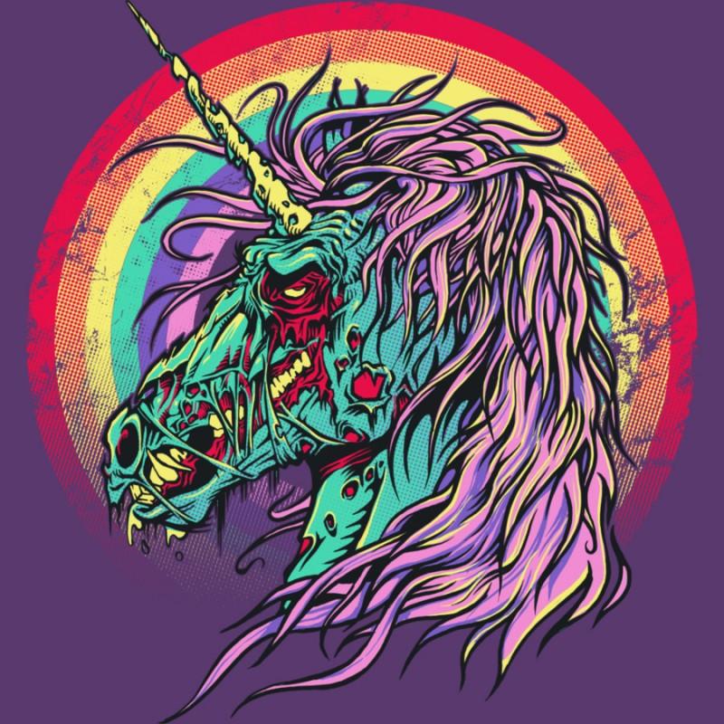 Scary zombie unicorn on rainbow background tattoo design
