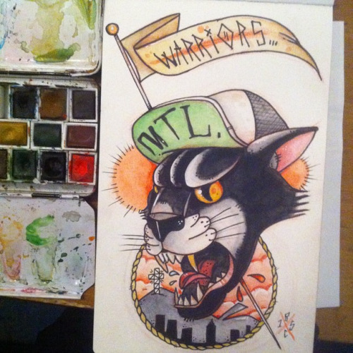 Screaming black old school cat and quoted flag tattoo design