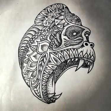 Screaming gorilla head with dotwork pattern tattoo design