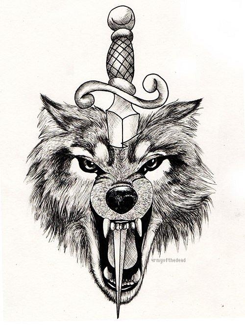 Screaming grey wolf head pierced with a sword tattoo design