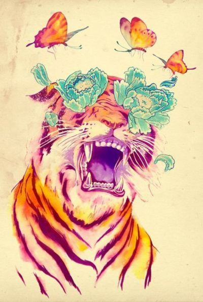 Screaming orange tiger with bturquoise peony eyes and flying butterflies tattoo design