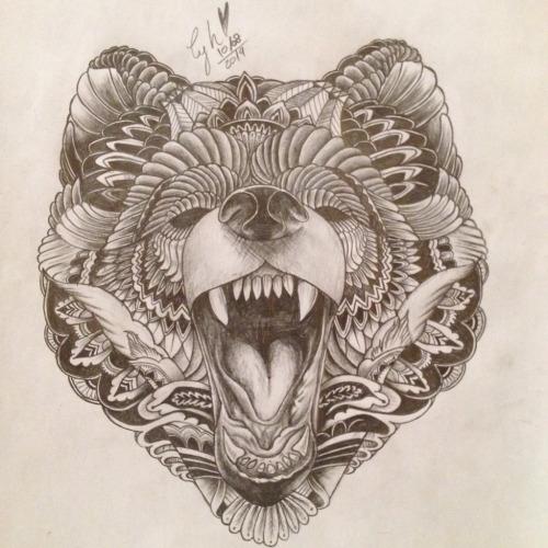 Screaming ornate bear head tattoo design