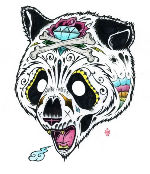 Screaming panda head decorated like sugur skull tattoo design