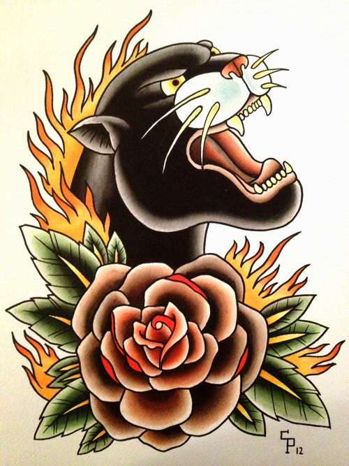 Screaming panther and flower in flame tattoo design