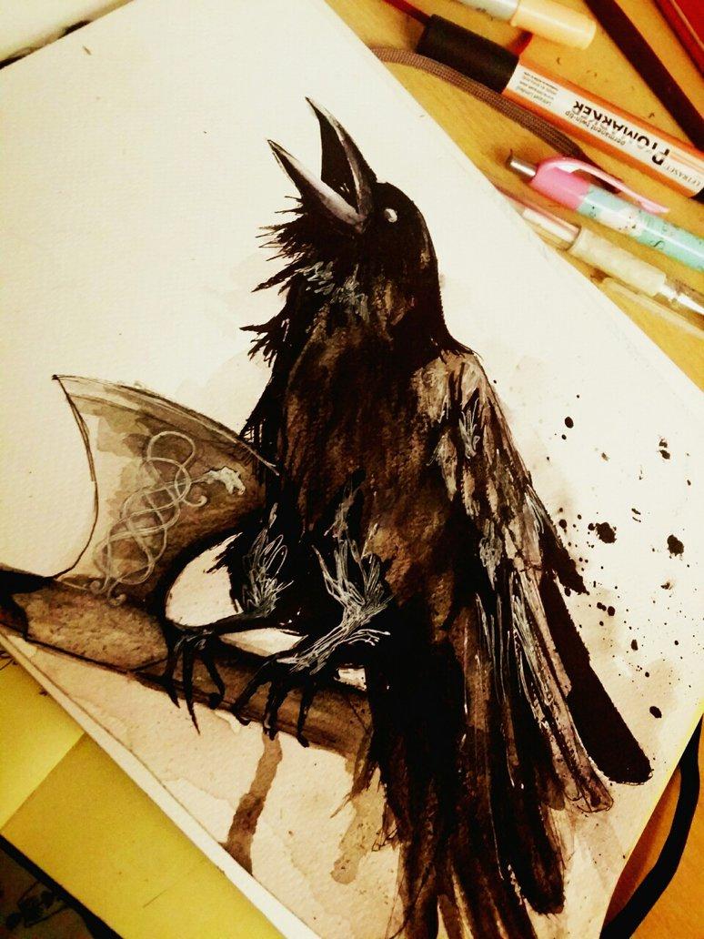 screaming raven sitting on celtic axe tattoo design. Black Bedroom Furniture Sets. Home Design Ideas