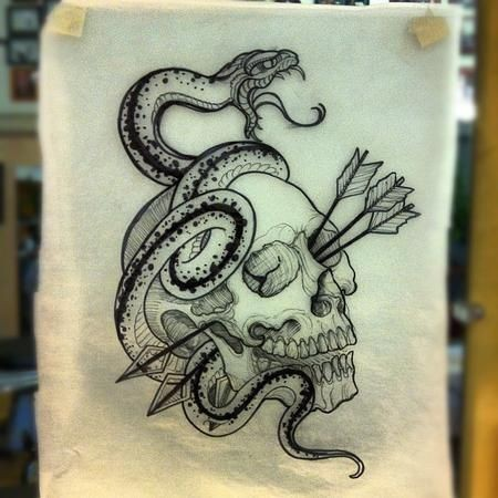 Screaming snake and skull with arrows on eye hole tattoo design