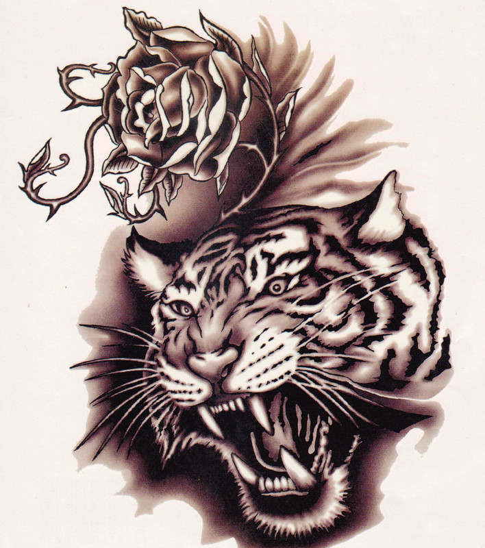 Screaming tiger and rose flower tattoo design