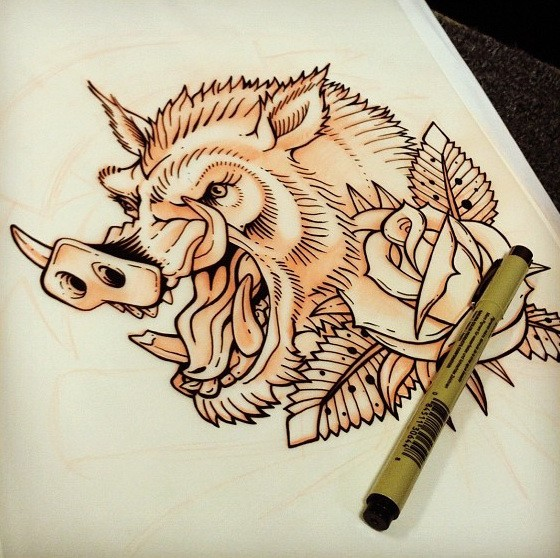 Screaming wild horned pig with rose buds tattoo design