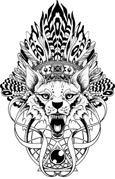 Screaming wolf in indian leader hat and sacred signs tattoo design