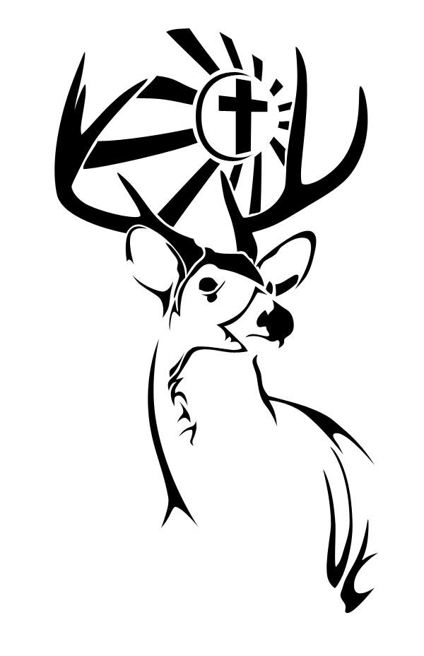Sensational black-line deer with striped crossed flag tattoo design