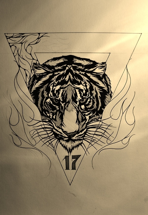 Serious black-and-white tiger portrait in flamed triangle frame tattoo design