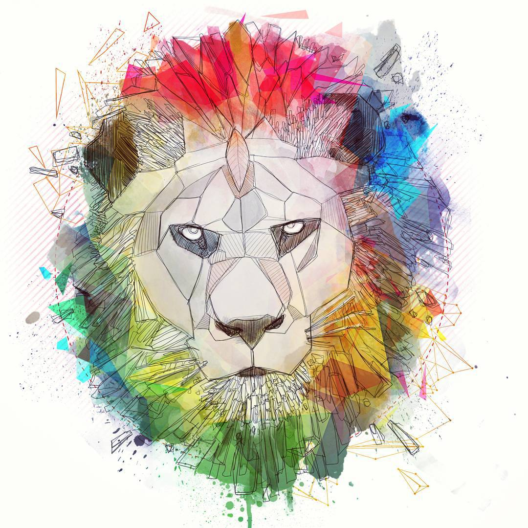 Serious geometric lion with watercolor mane tattoo design