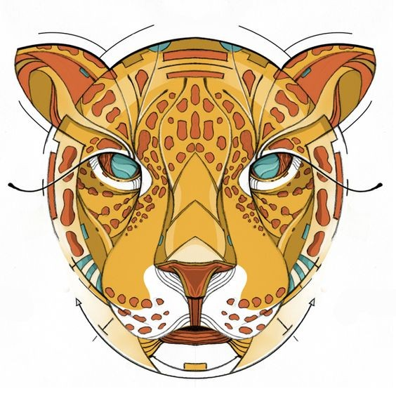 Serious orange blue-eyed jaguar muzzle tattoo design