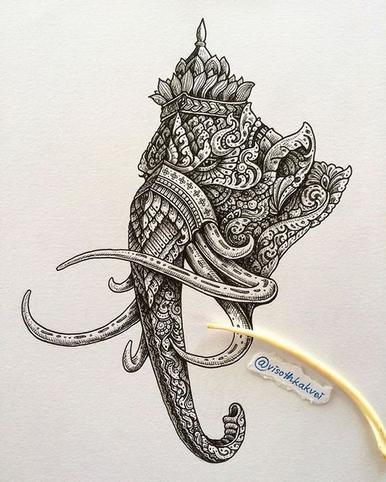 Serious ornate mammoth head in crown tattoo design