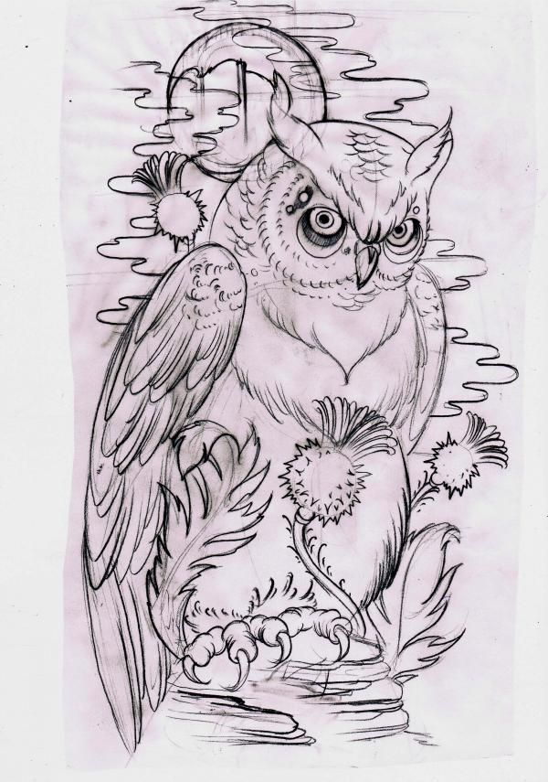 Serious uncolored owl and agrimony tattoo design
