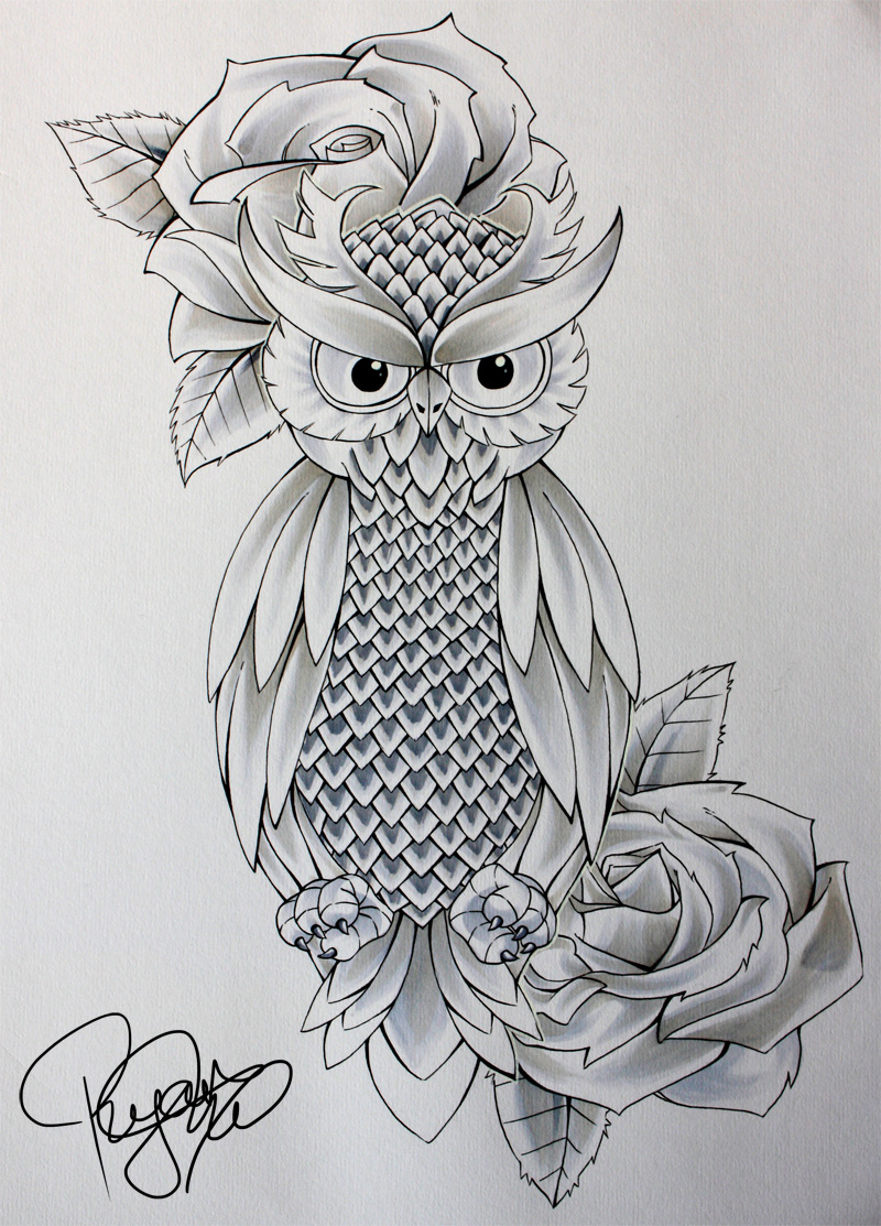 Serious uncolored owl and rose flowers tattoo design