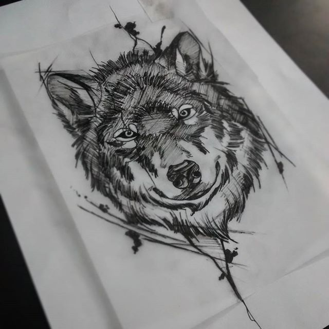 Serious wolf muzzle in black smudges tattoo design