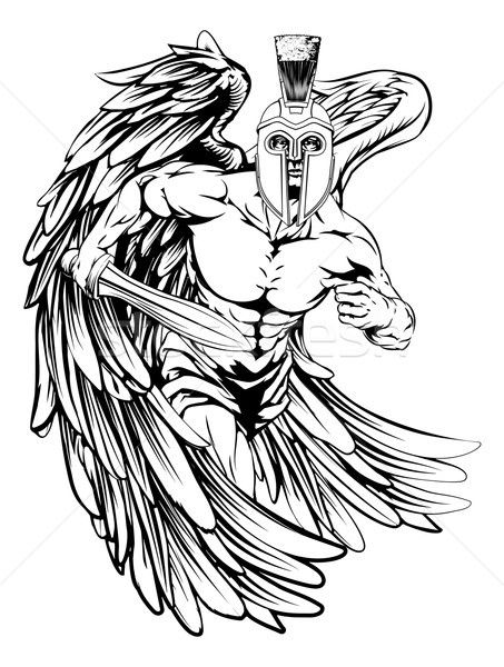 Severe black-and-white running romanian angel warrior in a helmet tattoo design
