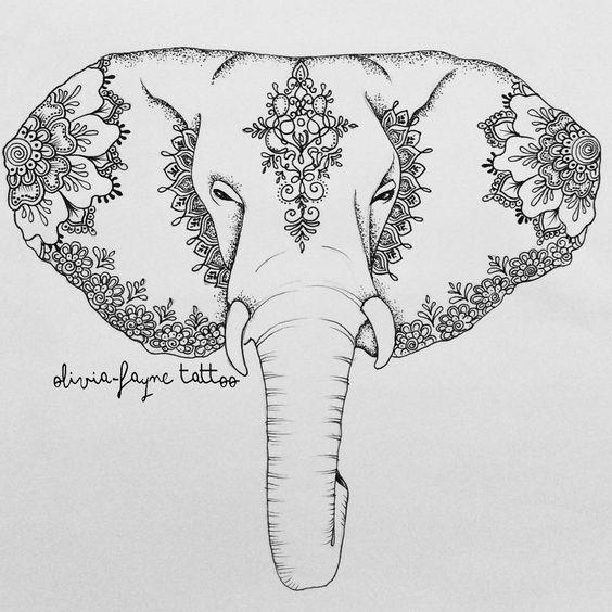 Severe calm uncolorec ornamented elephant head tattoo design