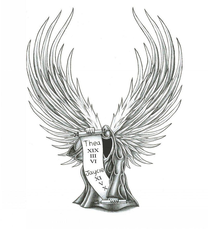 Severe death angel with a scroll of names tattoo design